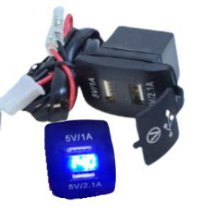 Acadaptador 12-24v a 2-usb con luz + voltimetro led con tapa