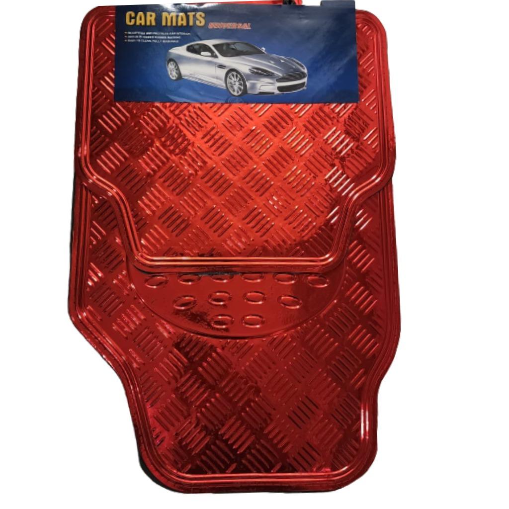 Cubre alfombra simil aluminio 4 pcs. roja
