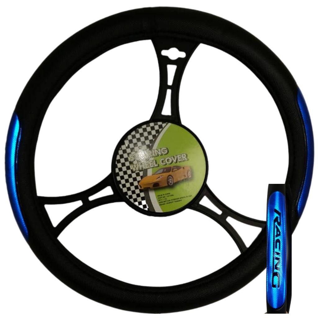 Cubre volante ac racing negro reflectivo azul