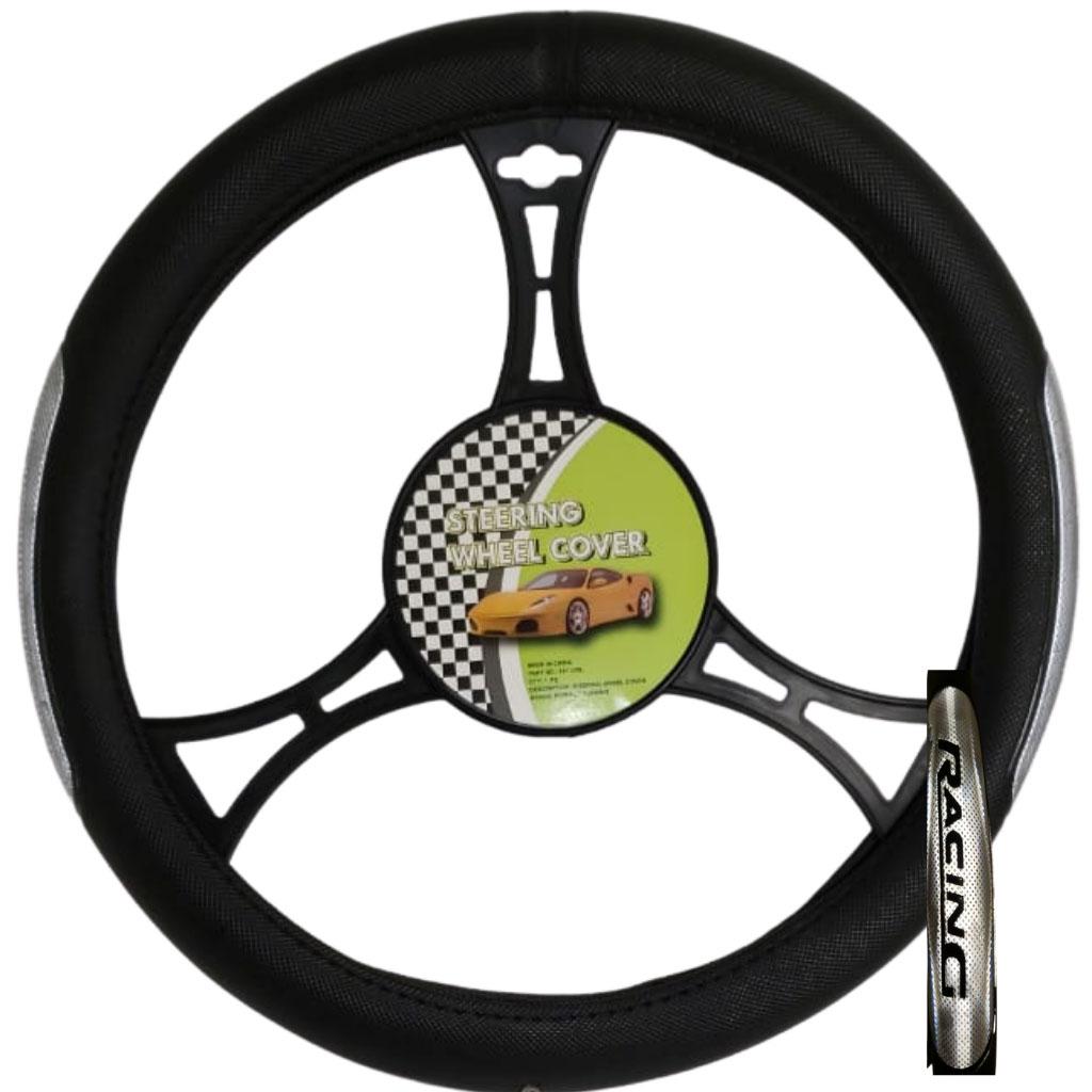 Cubre volante ac racing negro reflectivo gris