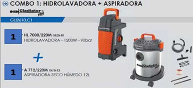 Combo aspiradora + hidrolavadora gladiator profesional