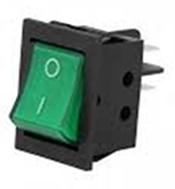 Llave tecla mini de embutir un punto 12v 10a con luz verde