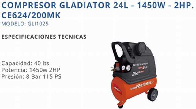 Compresor profesional 24l 2hp gladiator c/kit de accesorio