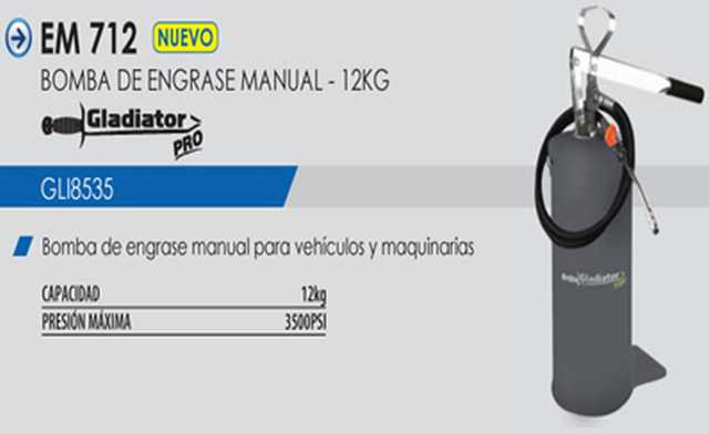 Bomba engrase manual 12kg. em712