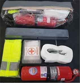Kit emergencia cuero+mco2+luem+botiquin+chaleco+cinta reforz