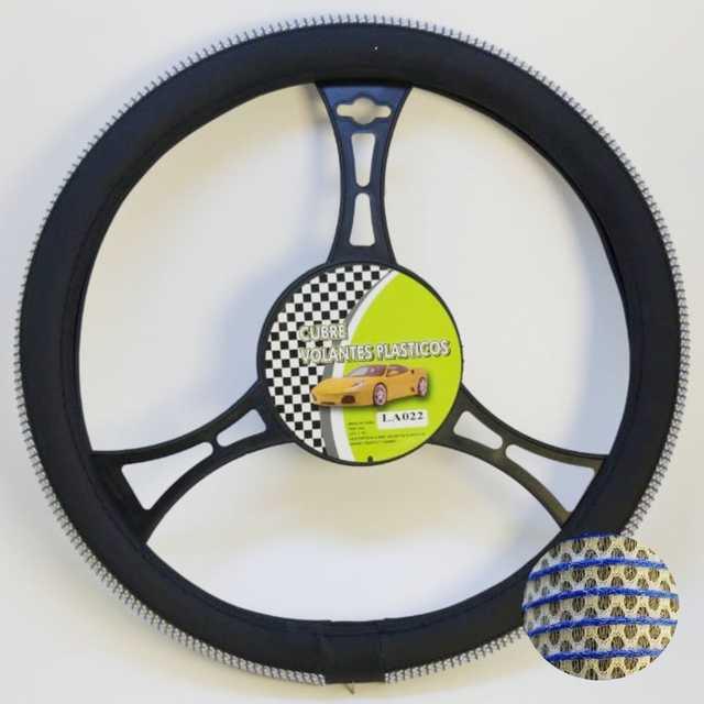Cubre volante moderno malla blanca detalle azul