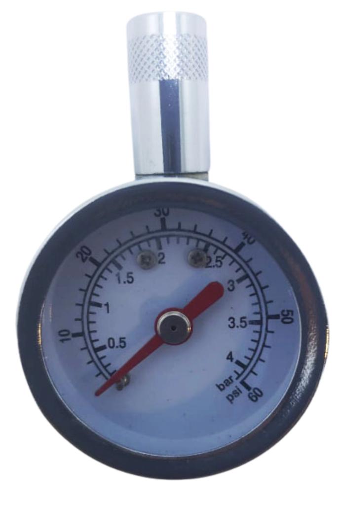 Medidor de presion reloj metalico cromado