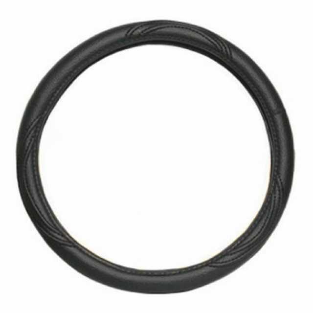 Cubre volante cuero negro liso 36 cm.