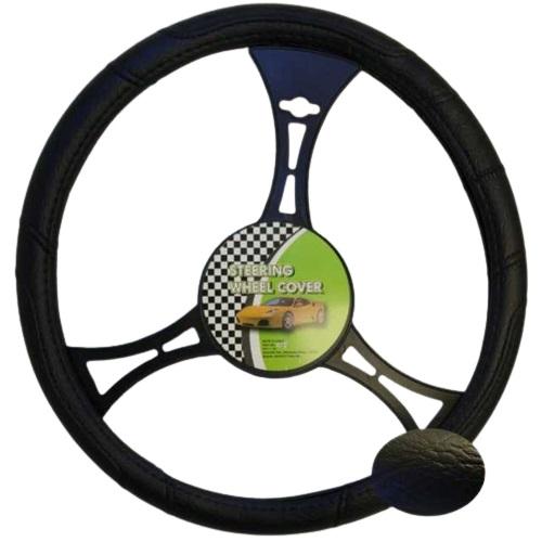 Cubre volante cuero negro liso 38 cm. sj006b