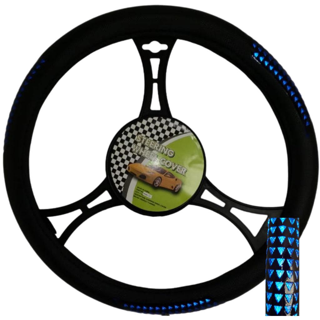 Cubre volante ac negro triangulos azules reflectivos