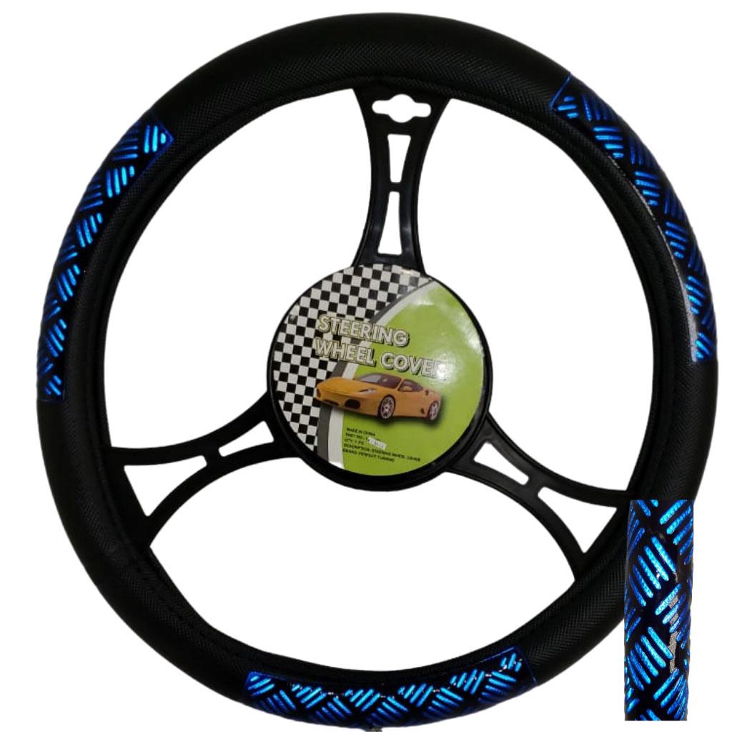 Cubre volante ac negro detalle 7001 azul reflectivo