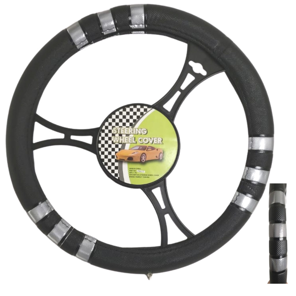 Cubre volante ac negro 3 rayas grises reflectivas