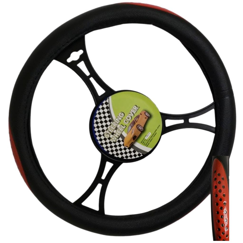 Cubre volante ac negro puntos rojos reflectivos
