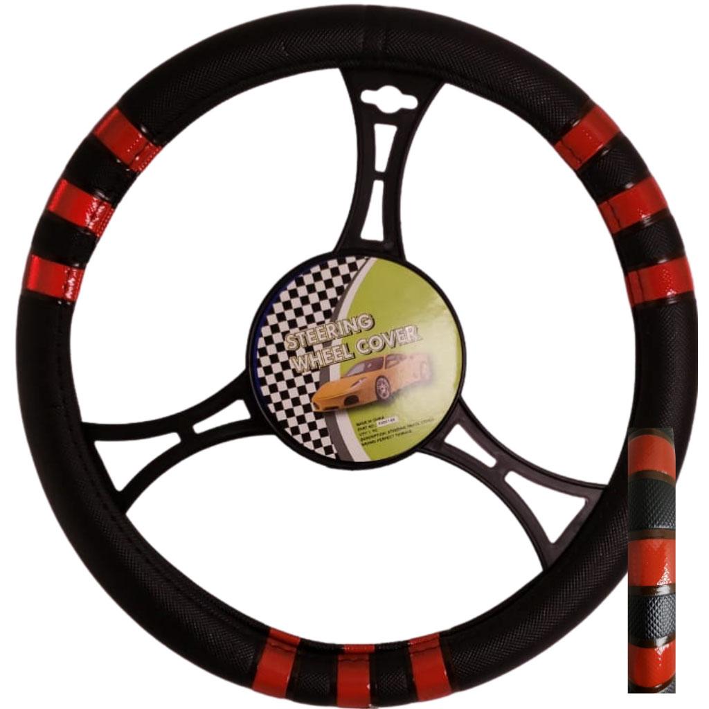 Cubre volante ac negro 3 rayas rojas reflectivas